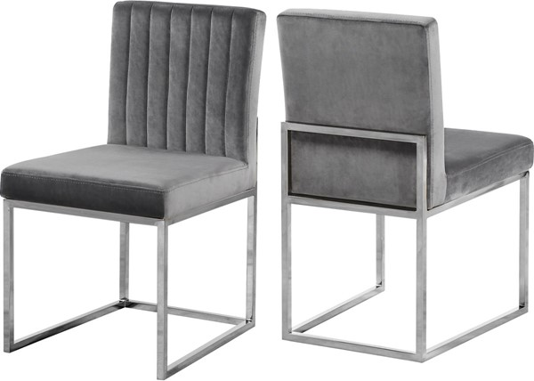 Design Edge Raymond Terrace 2  Grey Velvet Chrome Base Dining Chairs DE-22612026