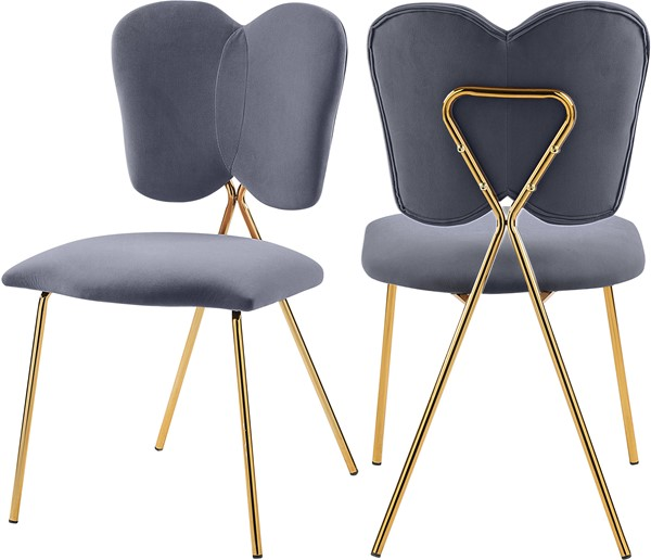 2 Meridian Furniture Angel Grey Velvet Dining Chairs MRD-780Grey-C