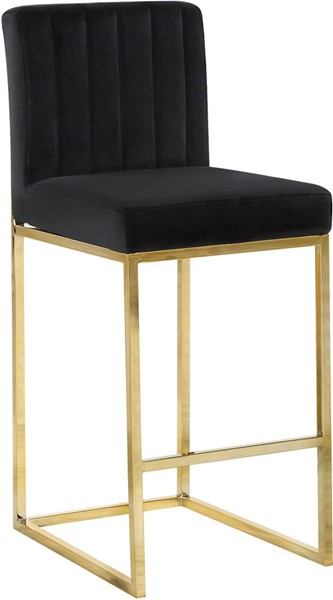 Design Edge Raymond Terrace  Black Velvet Gold Base Stool DE-22612056
