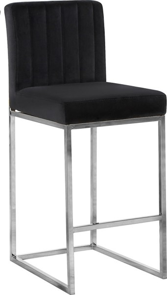 Design Edge Raymond Terrace  Black Velvet Chrome Base Stool DE-22612116
