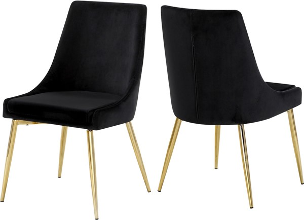 Design Edge Tumut 2  Black Velvet Gold Base Dining Chairs DE-22612150