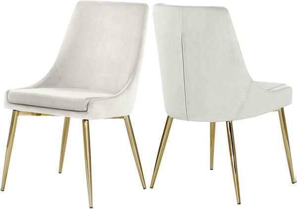 2 Meridian Furniture Karina Cream Velvet Gold Base Dining Chairs MRD-783Cream-C