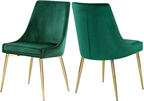 2 Meridian Furniture Karina Green Velvet Gold Legs Dining Chairs MRD-783Green-C