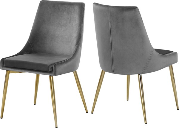Design Edge Tumut 2  Grey Velvet Gold Base Dining Chairs DE-22612170