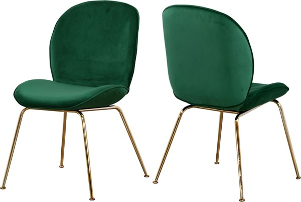 2 Meridian Furniture Paris Green Velvet Gold Legs Dining Chairs MRD-785Green-C