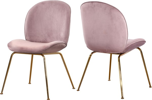 2 Meridian Furniture Paris Pink Velvet Gold Legs Dining Chairs MRD-785Pink-C
