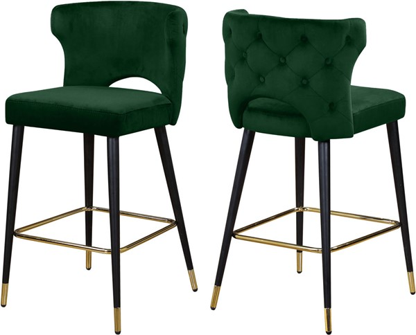 Design Edge Tuntable Creek 2  Green Velvet Stools DE-22779736