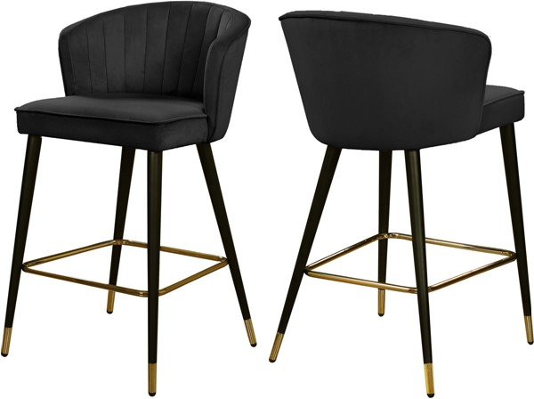 2 Meridian Furniture Cassie Black Velvet Stools MRD-793Black-C