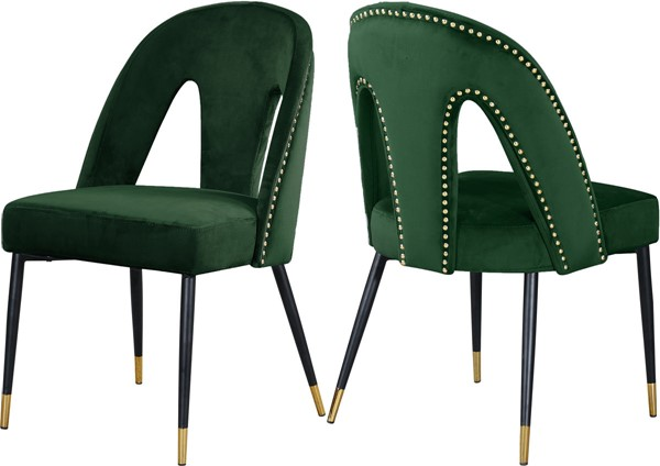 2 Meridian Furniture Akoya Green Velvet Dining Chairs MRD-794Green-C