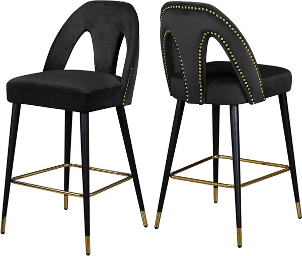 2 Meridian Furniture Akoya Black Velvet Stools MRD-795Black-C