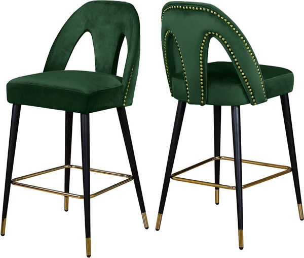 Design Edge Jennings 2  Green Velvet Stools DE-22778911
