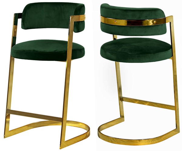 2 Meridian Furniture Stephanie Green Velvet Stools MRD-796Green-C