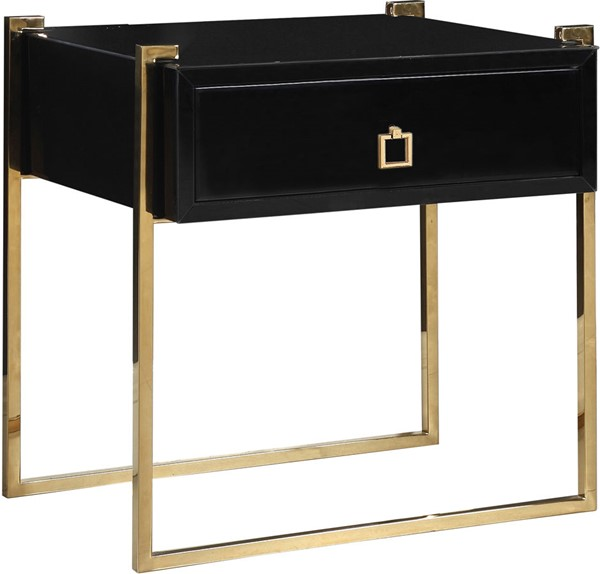 Meridian Furniture Annie Rich Gold Steel Base Square Gold Handle Black Side Table MRD-801