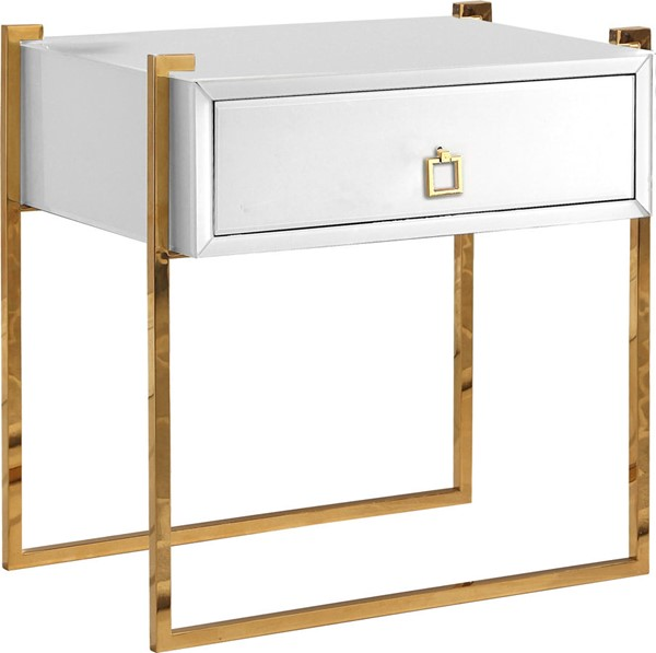 Meridian Furniture Annie Rich Gold Steel Base Square Gold Handle White Side Table MRD-802