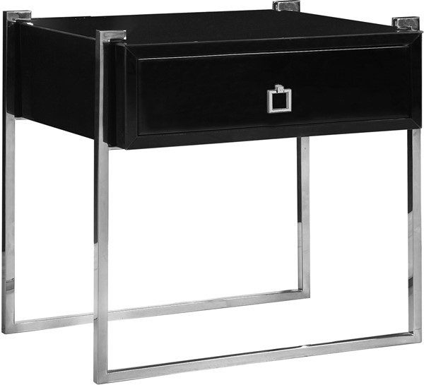 Meridian Furniture Annie Rich Chrome Steel Base Square Chrome Handle Black Side Table MRD-803