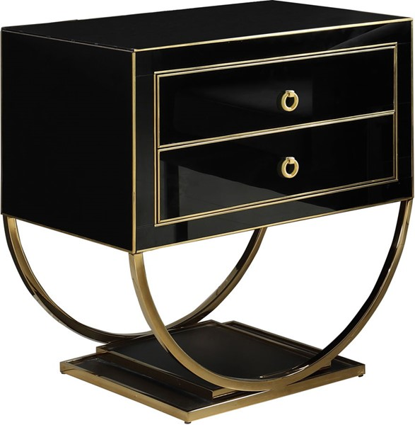 Meridian Furniture Alyssa Black Storage Side Table MRD-805