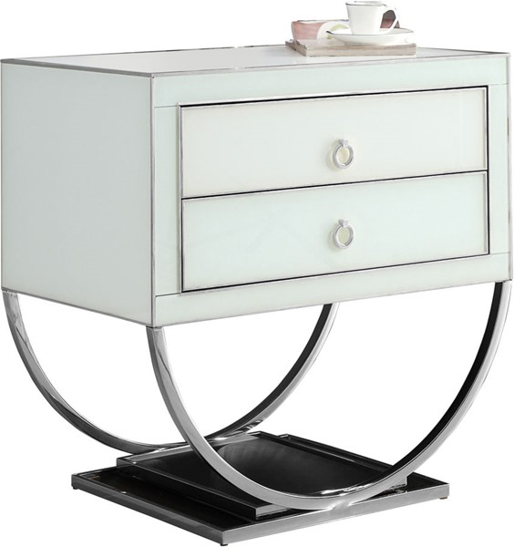 Meridian Furniture Alyssa White Chrome Base Side Table MRD-808