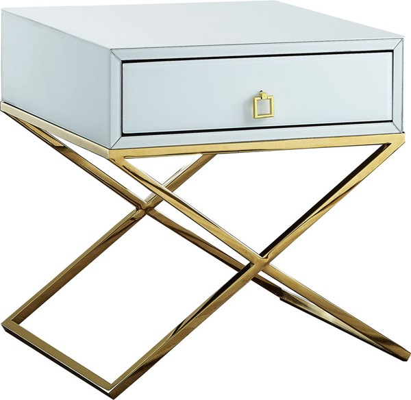 Design Edge West Wyalong  White Gold Base Side Table DE-22249602