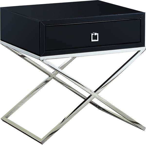 Meridian Furniture Lynn Rich Chrome Steel Base Square Chrome Handle Black Side Table MRD-811