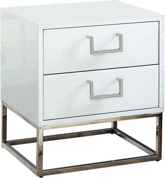Meridian Furniture Nova White Chrome Side Table MRD-818