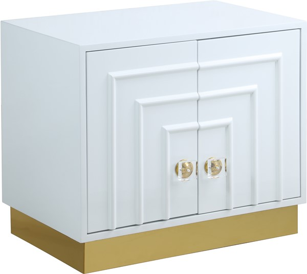 Meridian Furniture Cosmopolitan White Lacquer Side Table MRD-840