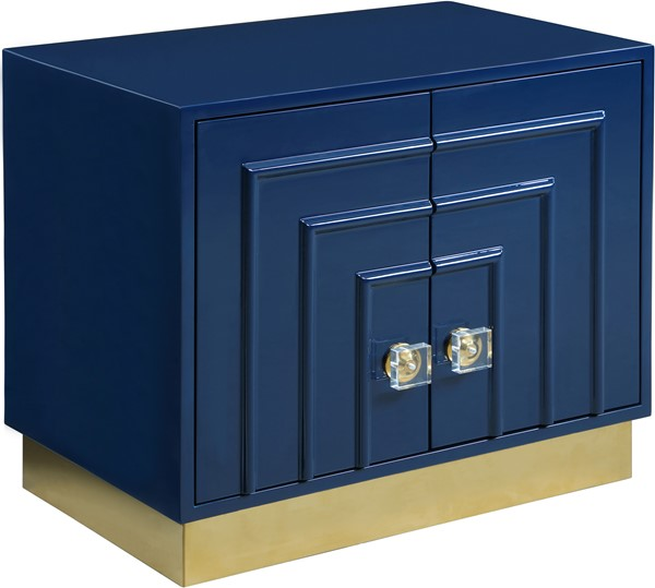 Meridian Furniture Cosmopolitan Navy Lacquer Side Table MRD-841