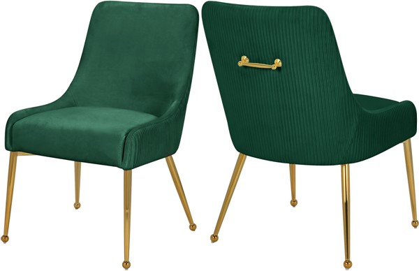 2 Meridian Furniture Ace Green Velvet Dining Chairs MRD-855Green