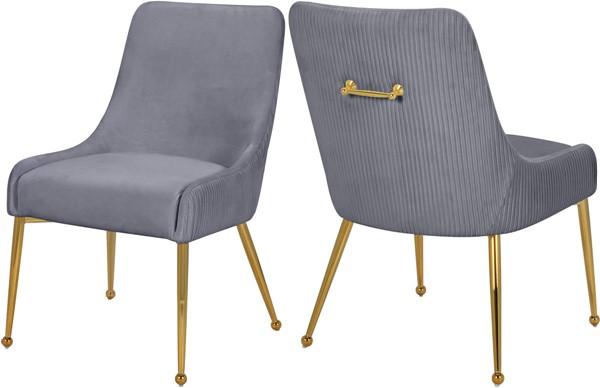 2 Meridian Furniture Ace Grey Velvet Dining Chairs MRD-855Grey