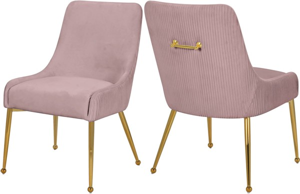 2 Meridian Furniture Ace Pink Velvet Dining Chairs MRD-855Pink