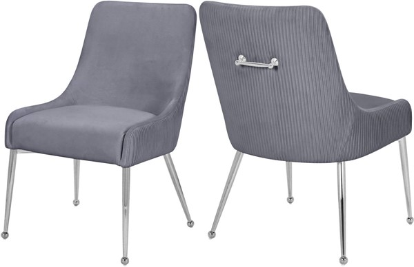 2 Meridian Furniture Ace Grey Chrome Dining Chairs MRD-856Grey