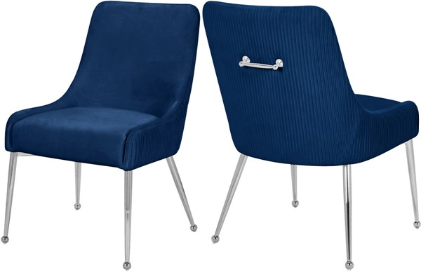 2 Meridian Furniture Ace Navy Chrome Dining Chairs MRD-856Navy