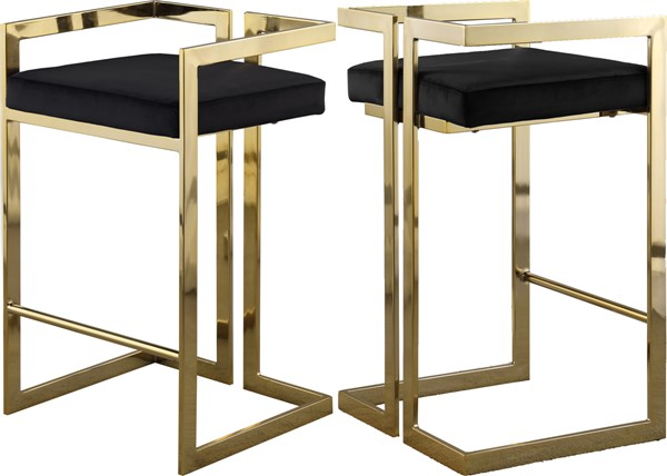 Meridian Furniture Ezra Black Velvet Gold Base Stool MRD-912Black-C