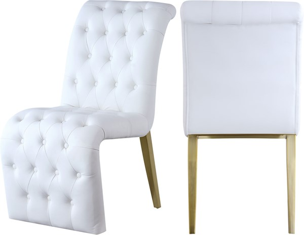2 Meridian Furniture Curve White Faux Leather Dining Chairs MRD-920White-C