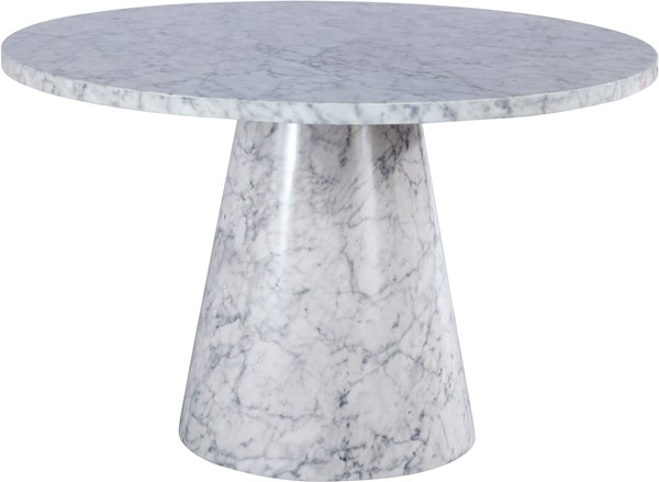 Meridian Furniture Omni White Faux Marble Dining Table MRD-921-T