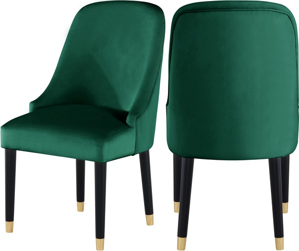 2 Meridian Furniture Omni Green Velvet Dining Chair MRD-923Green-C
