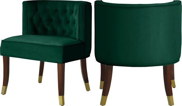 2 Meridian Furniture Perry Green Velvet Dining Chairs MRD-933Green-C