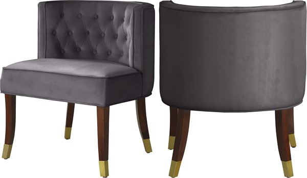 2 Meridian Furniture Perry Grey Velvet Dining Chairs MRD-933Grey-C