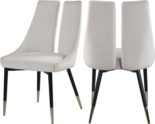 2 Meridian Furniture Sleek Cream Velvet Dining Chairs MRD-944Cream-C