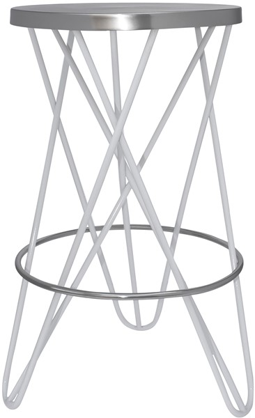 Meridian Furniture Mercury White Silver Counter Height Stool MRD-947White