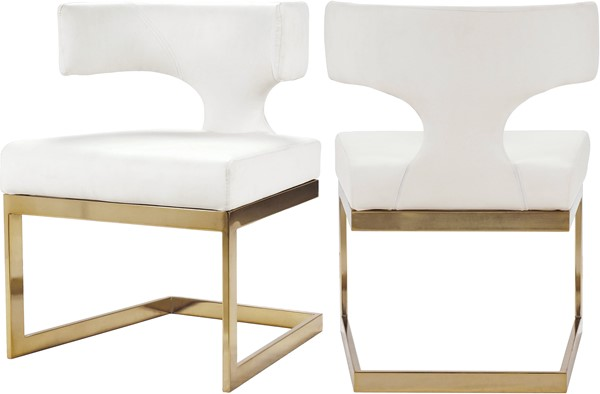Meridian Furniture Alexandra White Faux Leather Gold Base Dining Chair MRD-953White-C