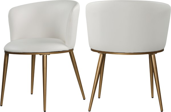 2 Meridian Furniture Skylar White Faux Leather Gold Legs Dining Chairs MRD-965White-C