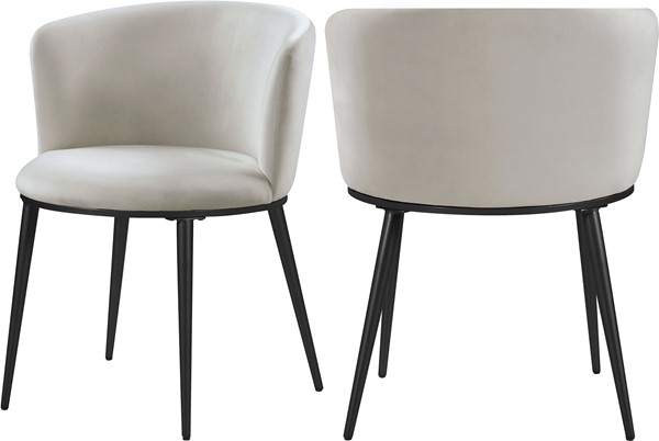 2 Meridian Furniture Skylar Cream Velvet Dining Chairs MRD-966Cream-C