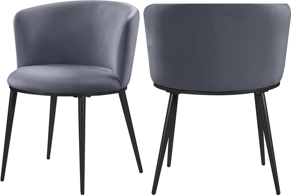 2 Meridian Furniture Skylar Grey Velvet Dining Chairs MRD-966Grey-C