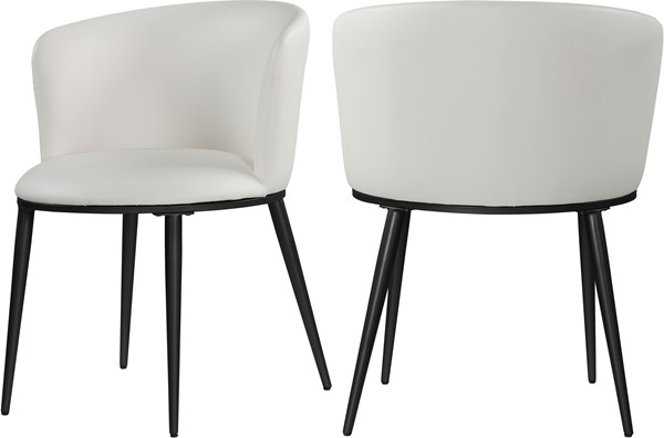 2 Meridian Furniture Skylar White Faux Leather Dining Chairs MRD-966White-C