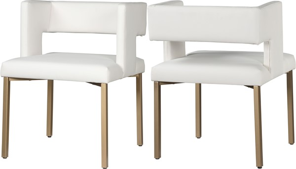 2 Meridian Furniture Caleb White Faux Leather Gold Legs Dining Chairs MRD-967White-C