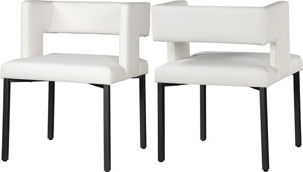 2 Meridian Furniture Caleb White Faux Leather Dining Chairs MRD-968White-C