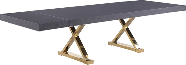 Meridian Furniture Excel Grey Oak Lacquer Extendable Dining Table MRD-995-T
