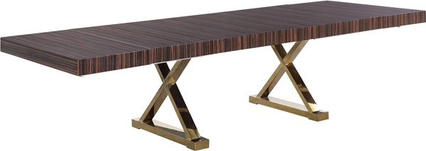 Meridian Furniture Excel Brown Zebra Wood Lacquer Extendable Dining Table MRD-996-T