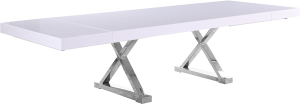 Meridian Furniture Excel White Lacquer Chrome Base Extendable Dining Table MRD-997-T