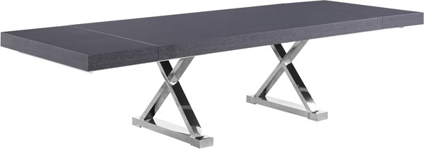 Meridian Furniture Excel Grey Oak Lacquer Chrome Base Extendable Dining Table MRD-998-T